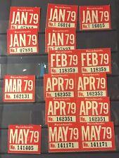 1979 Massachusetts Original Unused License Plate Expiration Stickers