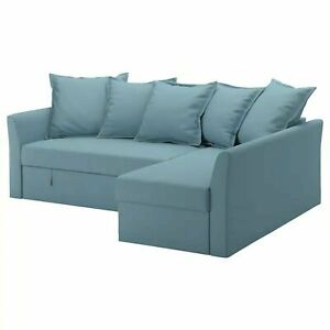 Ikea Holmsund Corner Sofa Bed  cover set in Grasbo Light Blue 403.879.38