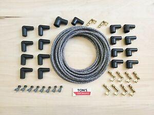DIY Universal Cloth Covered Spark Plug Wire Kit Set Vintage Wires v6 v8 GRAY bk
