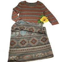 Peruvian Connection Sweater Body-con Dress Medium Aztec Long Maxi