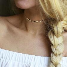 New Fashion Women Simple Retro Copper Sequins Chain Choker Necklace Jewelry