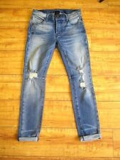NWT RTA Women's Ryder Crop Distressed Jeans Skinny Slim Light Blue Wash Size: 23