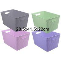 1pc Multi-Purpose Plastic Woven Storage Basket Home Office Storage Organize