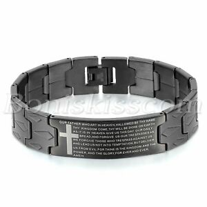 Men's Black Stainless Steel Cross English Bible Lords Prayer Bracelet Chain Link