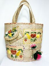 Vintage Rattan Straw Retro Tote Bag - Letters And Bills Pockets - Colorful!