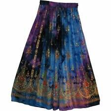 Milti TieDye Rayon Ethnic Indian Women Long Skirt Boho Gypsy Retro Hippie Falda