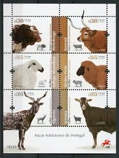 Portugal 2018 Mnh Portuguese Breeds Sheep Cows Goats 6v M/S Farm Animals Stamps