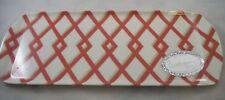 Plastic Tray by Caspari~Made in England~Burnt Orange Geometric Design
