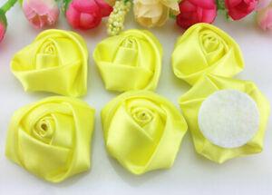 DIY 50PCS Satin Ribbon Rose Flower 40.00mm Craft/Wedding Appliques/Trim