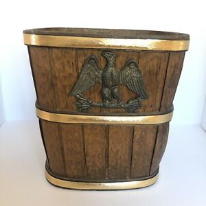 """Vintage Wooden Waste Basket w Brass Federal Eagle and Gold Banding, 11"""" Tall"""