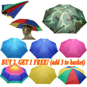 Foldable Sun Umbrella Hat Golf Fishing Camping Headwear Head Cap Outdoor Hiking