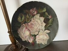 Antique Lovely Hand Painted Paper Mache Plate with Lush PINK ROSES