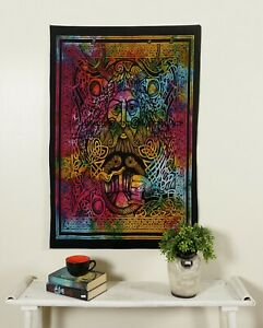 GREEN MAN FACE Wall Hanging Hippie Indian Mandala Small Poster Tapestry Art