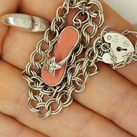 "Solid sterling silver 925 bracelet chain bangle Az390-13  flipflop shoe charm 7"""