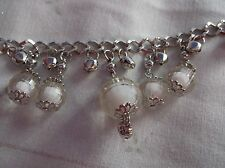 Brand> New >Fashonable>Silver& gt;Plated>With>Clear >And>White>Ball&g t;Charms>Bracelet.