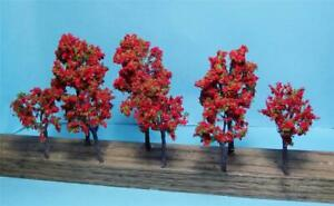 """Nice Quality Red Fall Trees for Multi Scale Use in 2 Sizes 3 1/2"""" & 2 3/4"""" 8 Pcs"""