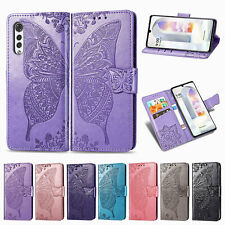 Embossed Butterfly Wallet Flip Case Card Stand Cover For Various Mobile Phones