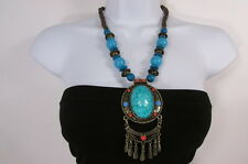 Women Fashion Necklace Wood Bead Gold Metal Chains Ethnic Blue Red Brown Gray