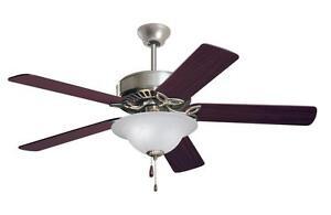 "EMERSON 50"" Energy Star Ceiling Fan & Light Pro Series Brushed Steel CF713BS"