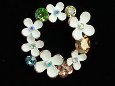 brilliant mix color crystal heart oval rhinestone white flowers gold Brooch F98