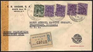 "MEXICO 1944 REG ADV CVR ""ATLAS EXPLOSIVES "" W/ CENSOR &"