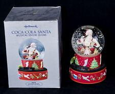 Vtg 2001 Hallmark COCA COLA Musical Santa Snow Globe Moving Trains SEE VIDEO
