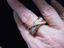 Vintage Rose & Gold Tone Rhinestone AVON Gold Tone Ring Size 10 Adjustable