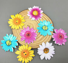 20X Flowers Buttons Wooden Sewing Scrapbooking decoration Mix color 2-Holes 37mm