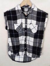 Next Size 12 Black White Check Short Sleeve Casual Sleeveless Shirt