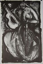 JOBIN Bernard-Lithographie originale signée- La joueuse de guitare