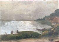 Old Katen on the Shore - Nordeutscher Space - Monogram Um 1920 Oil Painting