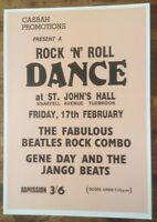THE BEATLES ROCK N ROLL DANCE TUEBROOK CONCERT POSTER A3 / THICK CARD /MINT(NEW)