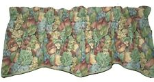 LOOK! Tapestry Fruit Kitchen Valance curtain 55% Linen Blue Red Tan Green 54X18
