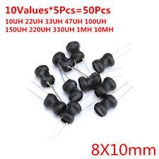 50pcs 10Values 8*10 10UH-10MH Power Inductors Assortment Kit 100/220/470UH 1MH