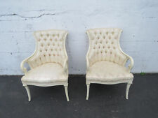 Solid Mahogany Carved Pair of Painted Fireplace Living Bed Room Side Chairs 8796