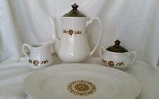 Vintage Enoch WEDGEWOOD Tea Set Medallions  6 Pcs Porcelain Ironstone Vintage