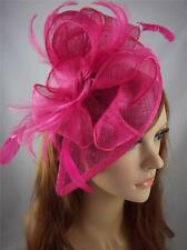 Fuchsia Hot Pink Sinamay & Feathers Teardrop Fascinator - Occasion Wedding Races