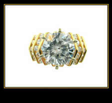 Zirconia Fashion Wedding Ring 14K Yellow Gold Cubic