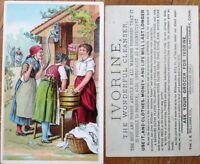 Ivorine Soap 1890 Victorian Trade Card - Women & Old Lady, Laundry
