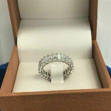 7Ct Emerald Cut Diamond Iced Eternity Wedding Band Ring 14k White Gold Over