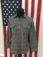 vtg Vab Heusen Acrylic Grey Plaid CPO Flannel Shirt men's XL grunge hipster 8980