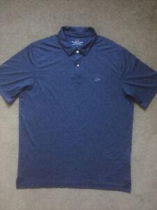 Men's Vineyard Vines Performance sz. Large Blue Pin Striped Polo Style Shirt EUC