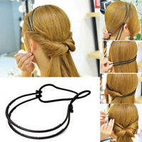 Femme double couche réglable tête de cheveux anneau élastique cheveux corde *trf
