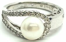 Sterling Silver 925 Pearl CZ Wrap Curved Band Swirl Wave Border Cocktail Ring