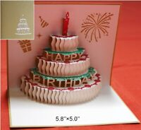 3D Pop Up Greeting Card Happy Birthday Cake Free Shipping USA