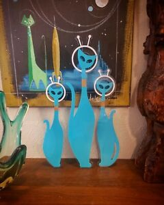 TURQUOISE Atomic Space Cats Wall Art Mid Century Laser Sculpture Mod Lovers