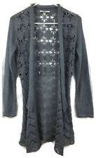 Liz Claiborne NY Crochet Cardigan Open Drape Front Floral Silver Gray Size XXS