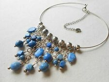 Carolyn Pollack Sterling Silver Blue Lapis Bead Collar Necklace   687172