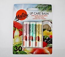 Malibu Lip Care Balm Sun Protection UVA SPF 30 3 Pack Watermelon Vanilla Mint