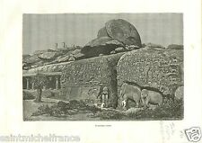 Carved Mountains Mahavelipour Madras India Inde GRAVURE ANTIQUE OLD PRINT 1888